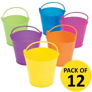Small Coloured Plastic Favour Buckets (Pack of 12) | Rainbow Party Supplies - Discount Party Supplies