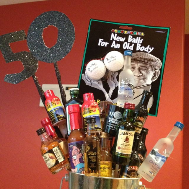50th Birthday Gift Basket For Men Do One With Ben Gay Vitamens Viagra Etc
