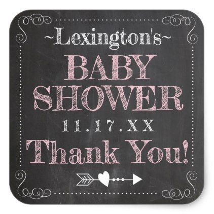 Pink Chalk Typography Baby Shower Square Sticker - guest gifts gift idea diy personalize