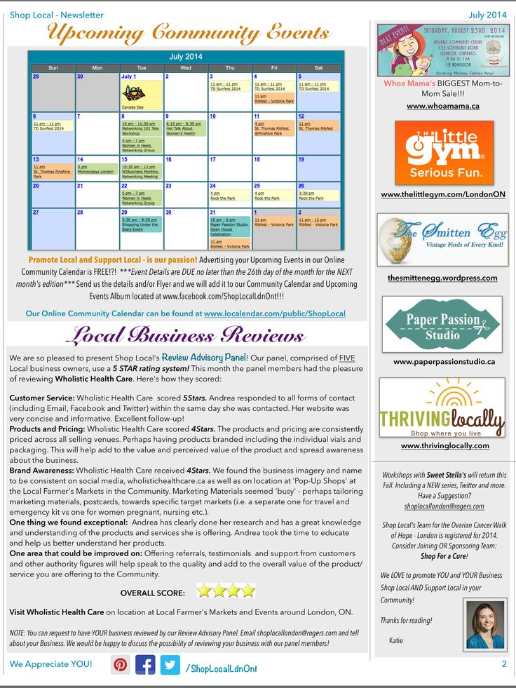Shop Local's July Newsletter Pg.2 Upcoming Events/Community Calendar. Review Advisory Panel July Review: Wholistic Health Care. http://eepurl.com/YBDdn #LdnOnt #supportsmallbiz #buylocal #LdnEvents