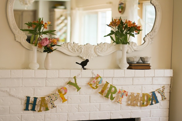 a bit of sunshine   happy birthday banner-- too cute... maybe I'll make a banner like this for my mantel
