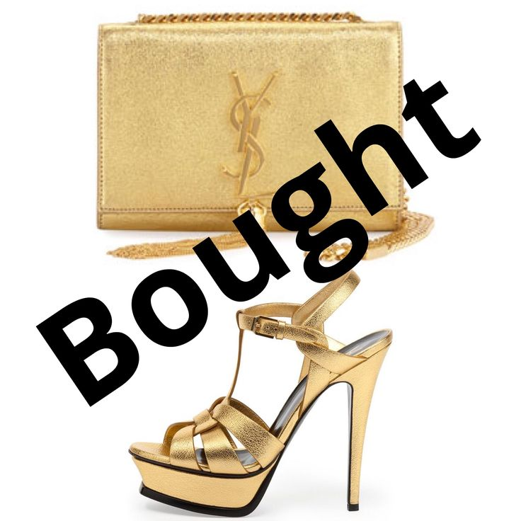 YSL - Metallic Gold Textured Clutch Bag & Sandal