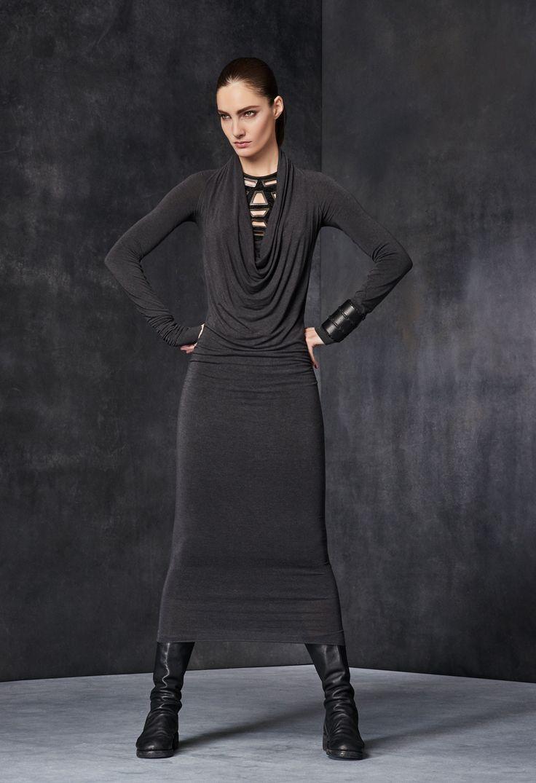 Long-Sleeve Cowl-Neck Dress