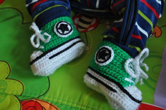 Zapatillas de ganchillo Converse verde bebé botitas de bebé