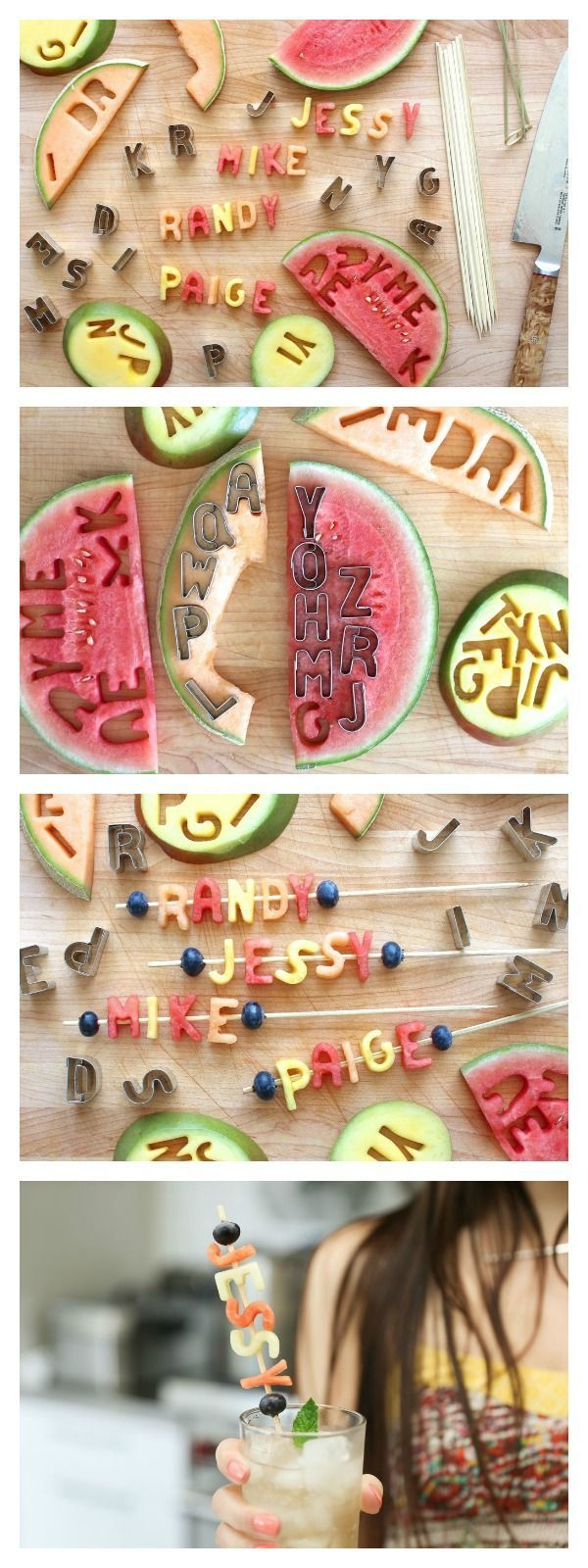 Friuit Name Skewers are the perfect way to keep cups claimed at parties!  Fun for kids to make and fun to eat when your done!