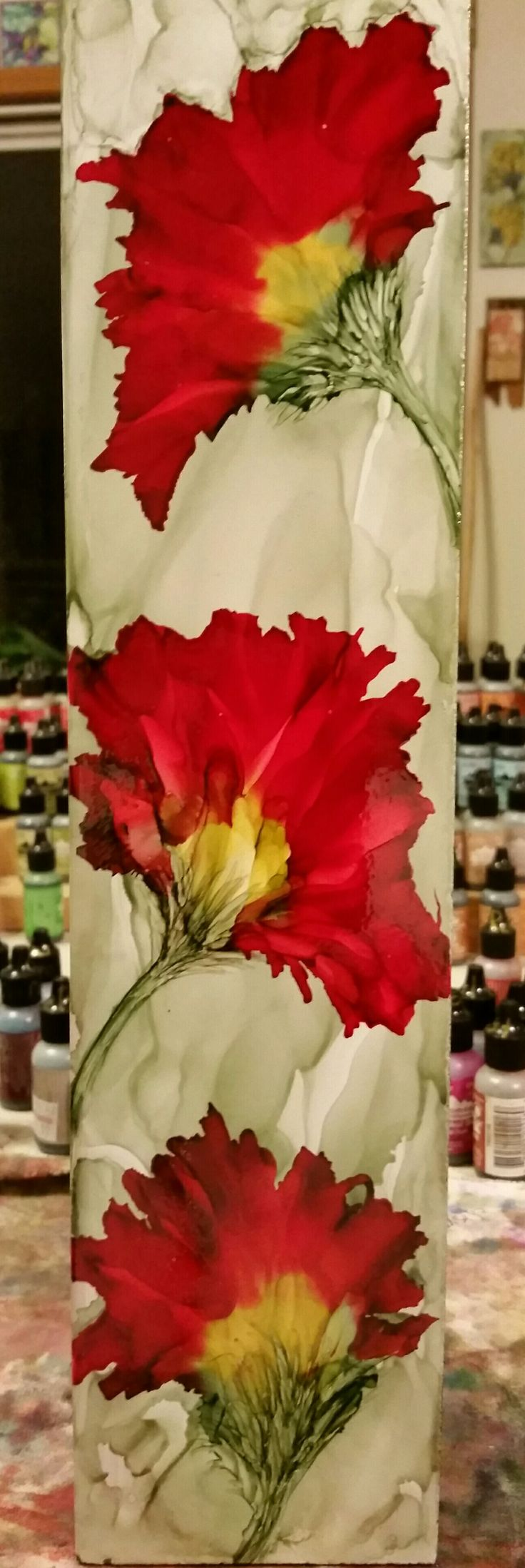 Poppies on long 14x3.5 inch ceramic tile in alcohol ink by Tina