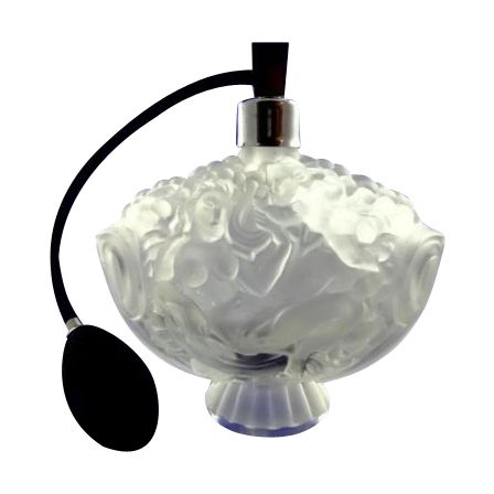 1930s Czech Cherubs & Nude Schlevogt Hoffman Ingrid Siesta Frosted Flacon Perfume Bottle