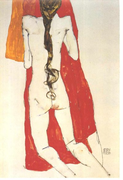 """""""Female nude , Back View with Long Hair"""", 1913, Egon Schiele."""