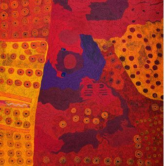 Ilpin & Nyapari Tjukurpa by Ginger Wikilyiri and Keith Stevens 2014 Synthetic polymer paint on canvas 78 1/2 X 77 inches