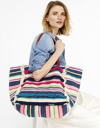 5557f06e79 Accessorize   Multi Stripe Fringed Beach Tote Bag   Multi   One Size    4909189900