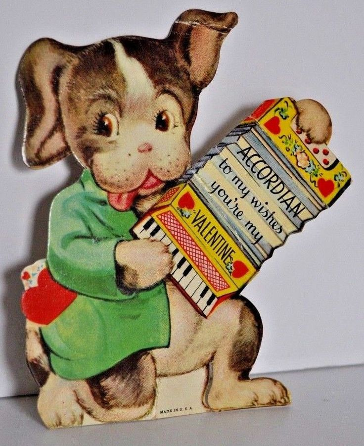 """Vintage Valentine's Day Card """"""""Accordian"""" to my wishes your'e my Valentine"""""""