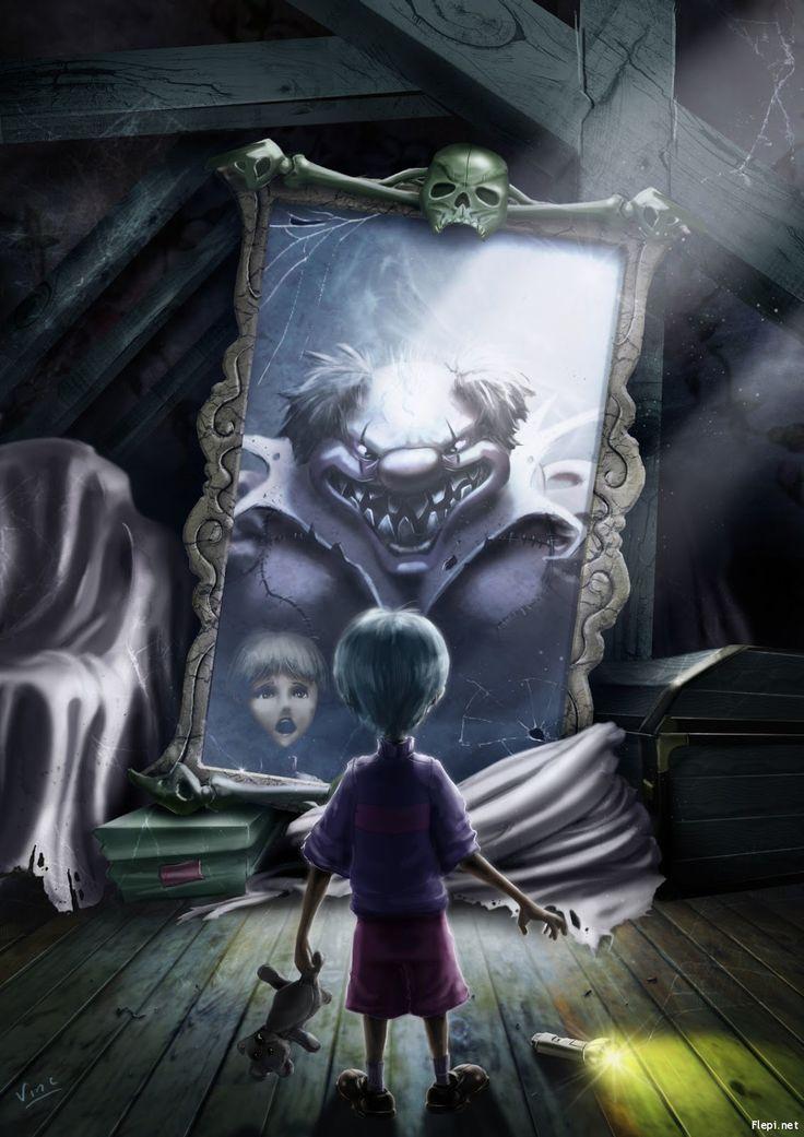 22. Payaso terrorífico en el espejo