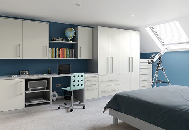 Academy Locano fitted bedrooom furniture in white. Available in many other colours. Can be used in almost all rooms of the house.