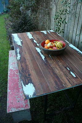 Industrial vintage timber dining table desk rustic shabby chic retro outdoor