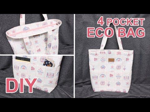 Cómo Hacer Un Bolso Con Cremallera Diy 4 Pocket Tote Bag Sewingtimes Youtube Diy Pouch Bag Eco Bag Diy Tote Bag