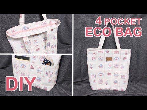 Cómo Hacer Un Bolso Con Cremallera Diy 4 Pocket Tote Bag Sewingtimes Youtube Diy Pouch Bag Eco Bag Diy Tote Bag