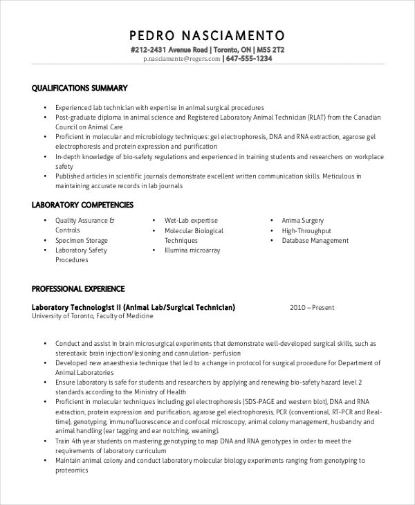 Lab Technician 4-Resume Examples Sample resume, Medical lab