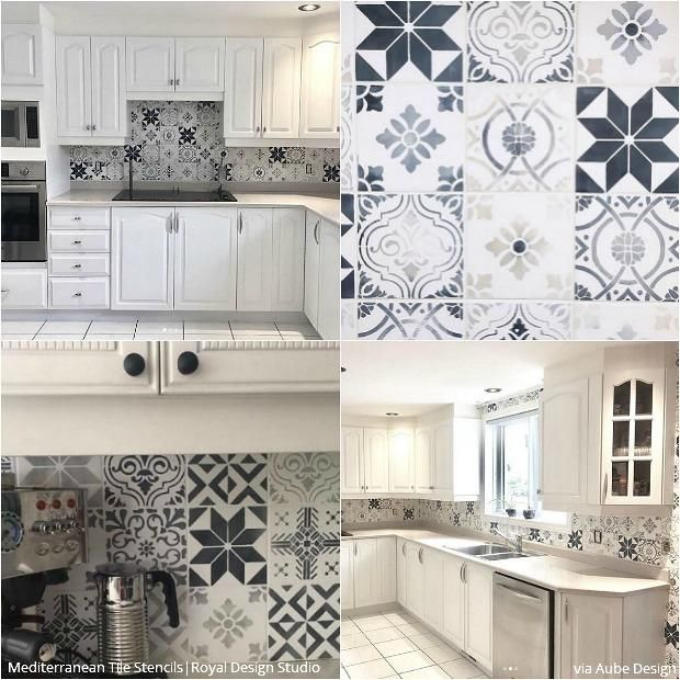Mediterranean Tile Stencil Set In 2020 Diy Kitchen Backsplash Kitchen Backsplash Designs Kitchen Tile Diy