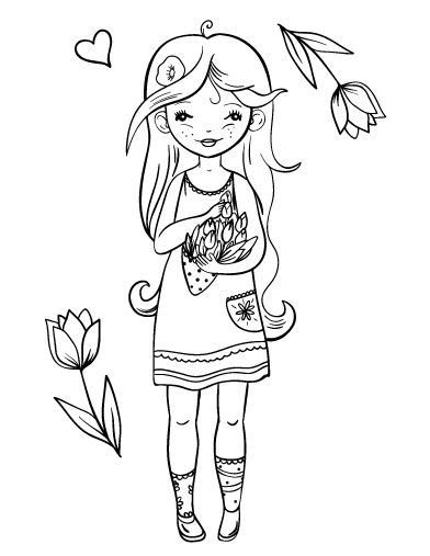 Printable Girl Coloring Page Free PDF Download At
