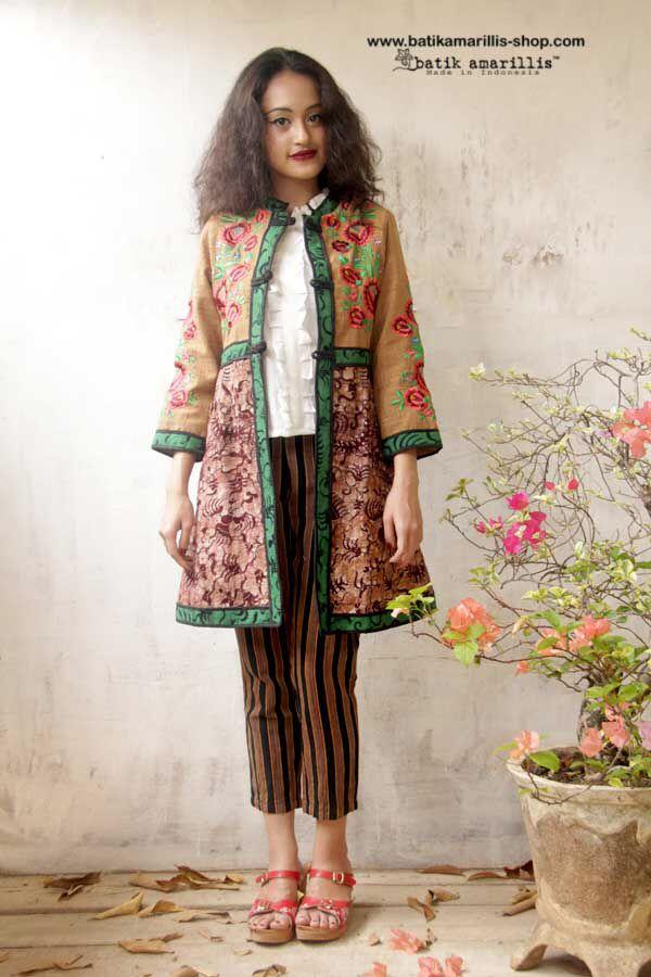 Batik Amarillis Made in Indonesia  .....this is when Indonesia's traditional textile ( Tenun Batik Gedok Tuban )meets Hungarian embroidery...