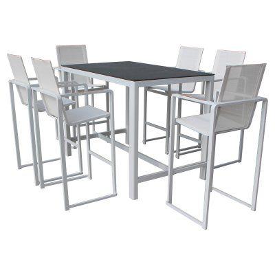 Pangea Outdoor Piano Aluminum 7-Piece Rectangular Bar-Height Patio Dining Set - PIANO- 7PC BAR SET WHITE, Durable