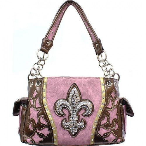 Concealed Carry Handbag Rhinestone Fleur De Lis with Floral Cutout – Handbag Addict.com