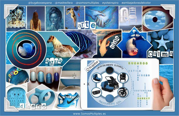 El arte, el agua, la vida, la calma y el diseño son los cinco conceptos que inspiran este moodboard.  Inspirado en el nuevo Bugaboo Donkey color azul celeste.... ¡Con chasis negro!   #embajadoresdelcolor #yoteinspiro #bugabooespana @Madresfera   Si os ha gustado el resultado os pido que me votéis en la web de Embajadores del Color. Aquí tenéis el link: http://madresfera.com/embajadoresdelcolor/moodboard/photodetail/bugaboo-donkey-por-somos-multiples.html