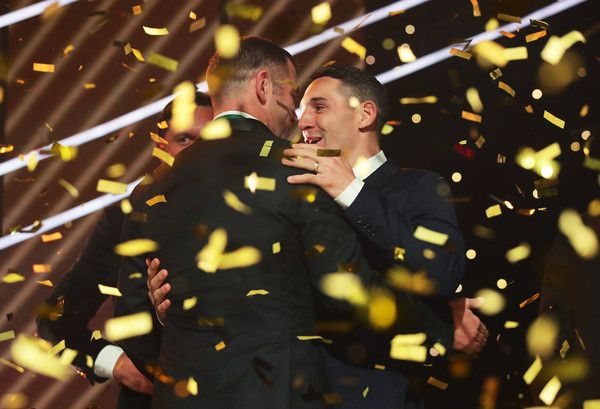 Cameron Smith of the Storm (L) celebrates with Billy Slater of the Storm (R) after winning the Dally M Medal during the 2017 Dally M Awards at The Star on September 27, 2017 in Sydney, Australia. http://footyboys.com