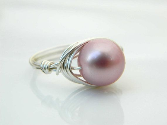 Swarovski Pearl Ring  Size 7.5  Pearl Ring  Silver Rose by gabeadz