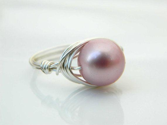 Swarovski Pearl Ring  Size 7.5  Pearl Ring  Silver Rose by gabeadz