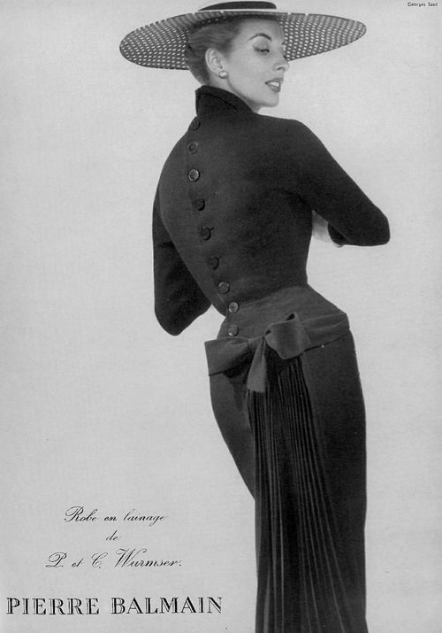Pierre Balmain Dress, 1954. Because great designers know that the back is just as important as the front.