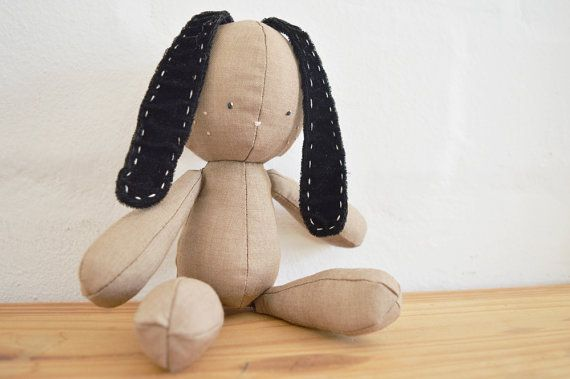 Floppie bunny with velvet ears and a cotton tail. Handmade stuffed doll for sale on Etsy || by Vir Lief