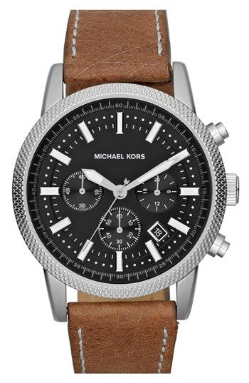 MICHAEL Michael Kors Michael Kors 'Scout' Chronograph Leather Strap Watch, 43mm available at #Nordstrom