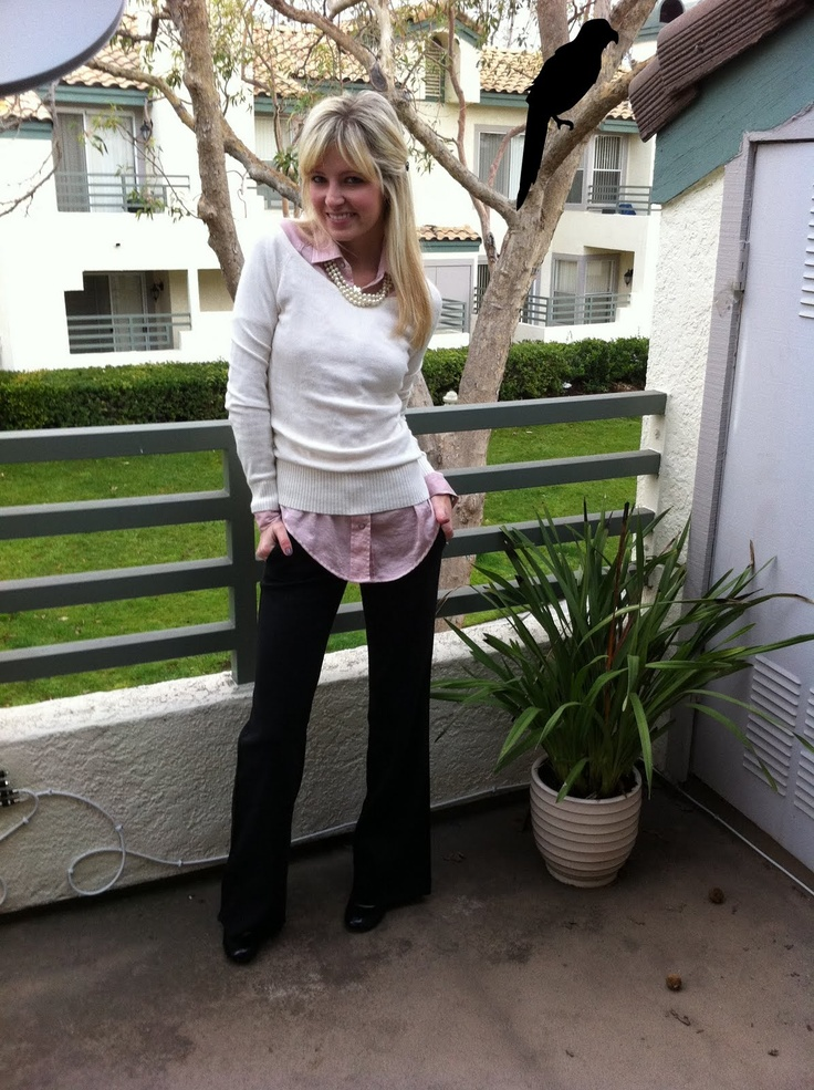 slacks: Theory, pink silk shirt: William Rast for Targs, sweater&pearls: Nord Rack, patent mary-janes: Targs