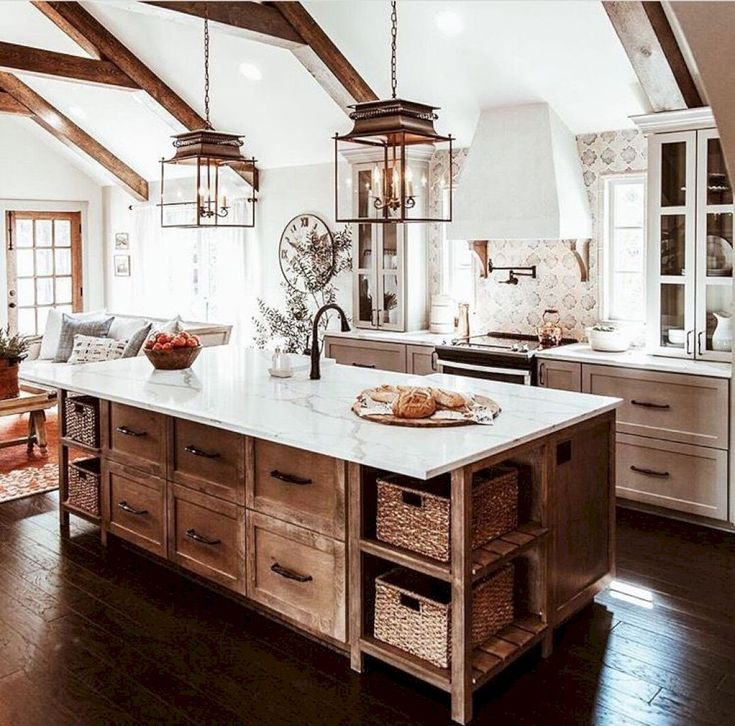 40 Inspiring Rustic Farmhouse Kitchen Cabinets Remodel Ideas