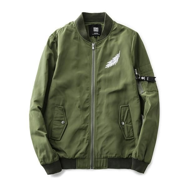 Privathinker Autumn Men Embroidery Flight Army Green Bomber Jacket Men's Rib Sleeve Zipper Air Force Bomber Coats Size Plus