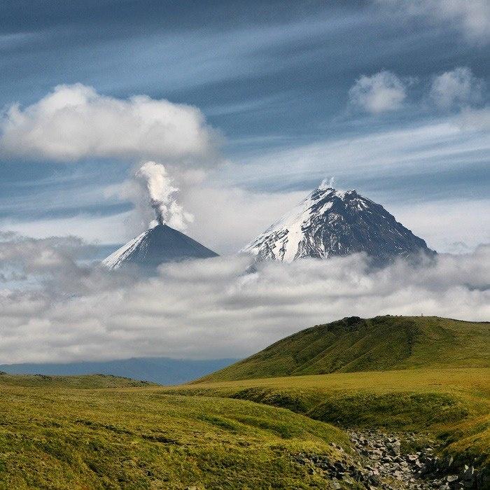 Volcanoes Klyuchevskaya Sopka and Kamen, Kamchatka Peninsula, Russia.