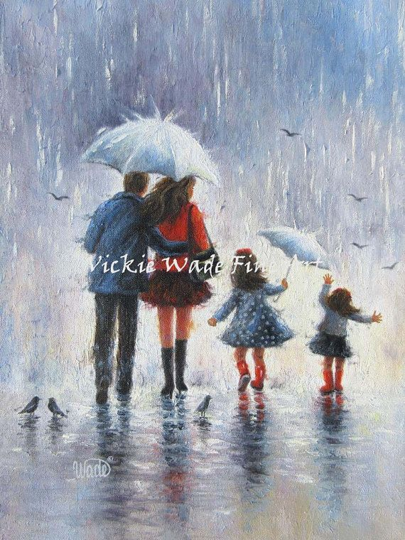 Rain Family Art Print four daughters four by VickieWadeFineArt