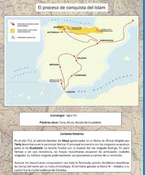 Mapa proceso conquista islam