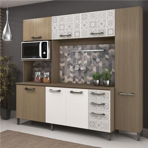 Cozinha Completa Sense E780 Kappesberg Nature/Branco/Azulejo