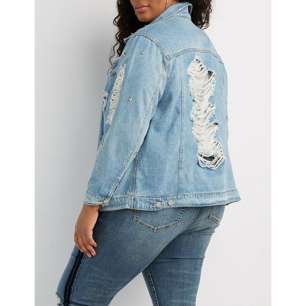 2e89bf4b3ccb6 Charlotte Russe Studded Destroyed Boyfriend Denim Jacket ( 47) ❤ liked on  Polyvore featuring plus size women s fashion