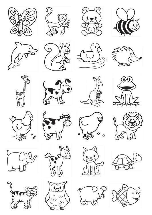 Kleurplaat icoontjes voor kleuters. Kinderen leren terwijl ze kleuren. Afbeeldingen voor scholen en onderwijs - afb 20783.