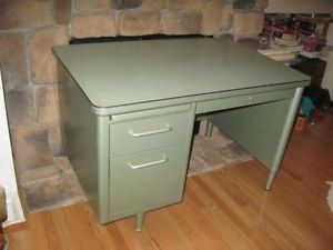 Navy Chairs For Sale | VINTAGE GREEN ENAMEL TEACHERu0027S DESK AND ALUMINUM  NAVY CHAIR Image0
