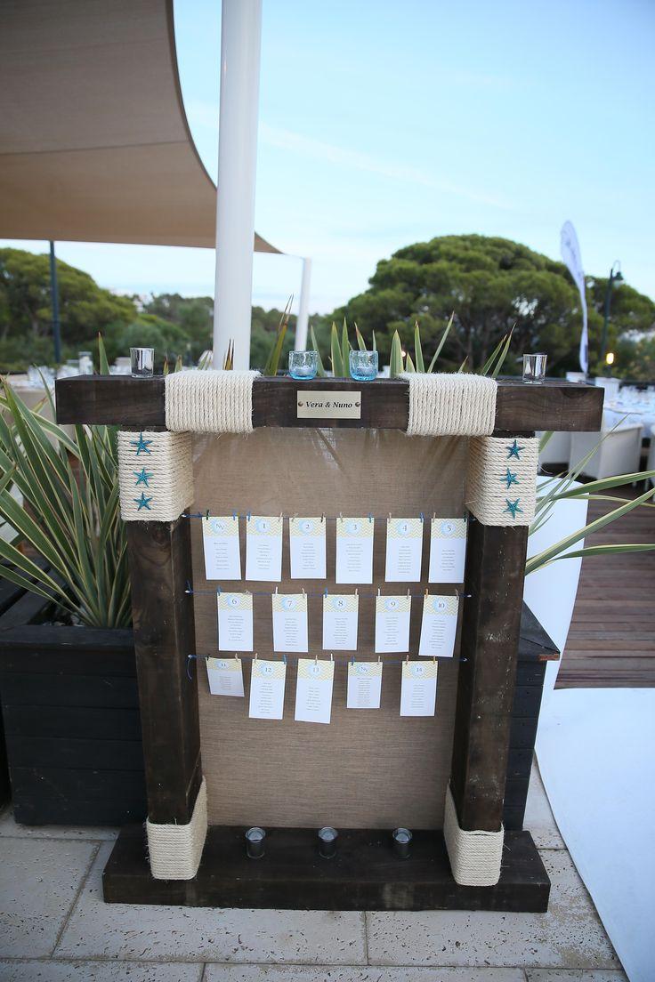 Painel de disposição dos convidados no jantar de casamento, Dunas Douradas Beach Club, Algarve