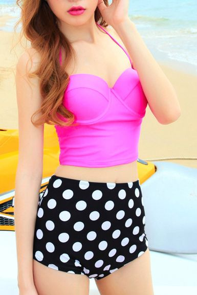 Super Cute! Love the Polka Dots! Hot Pink Halterneck High Waist Black and White Polka Dots Print Tankini