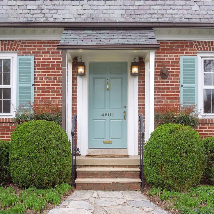Exciting Front Door Colors For Red Brick House With Black Shutters