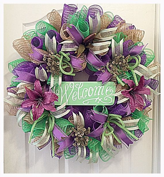 Welcome Purple Lily Deco Mesh Wreath/Welcome by CKDazzlingDesign