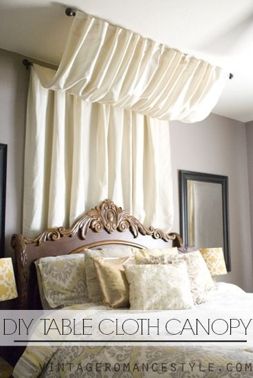 diy no sew table cloth bed canopy tutorial, bedroom ideas, diy, how to, reupholster