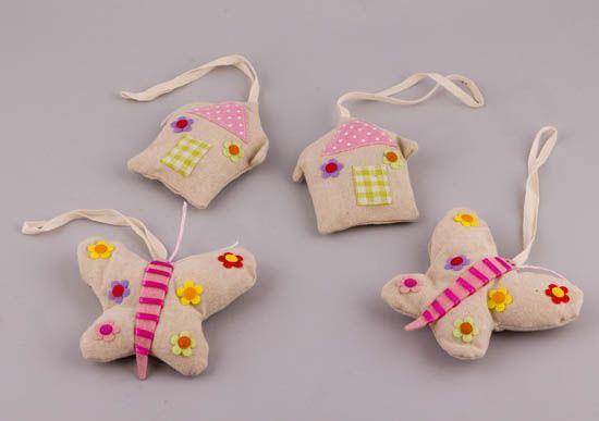 Λινά κρεμαστά σπιτάκια και πεταλούδες με χρώματα! | bombonieres.com.gr