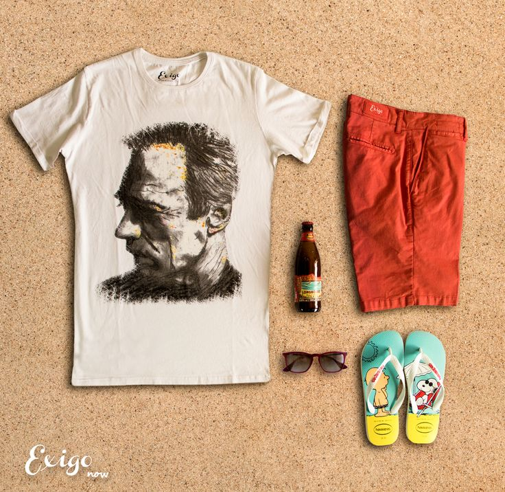 """Per un pugno di sabbia""   #Exigo #TShirt #Clint #Eastwood #White #Handmade #Artist #Series #L.Bianco #DanteB #Shorts #Bermuda #Coral #Red #Slim #Sunglasses #Rayban #Ruby #Trasparent #FlipFlops #Havaianas #Limited #Edition #Peanuts #Charlie #Brown #Snoopy #Turquoise #Yellow #White #Beer #Longboard #Island #Lager #Kona #Brewing #Hawaii #Beach #Sand #Grain #Fun #Chilling #Drinking  #Relaxing #Sun #Enjoy #Life #ExitEGo"